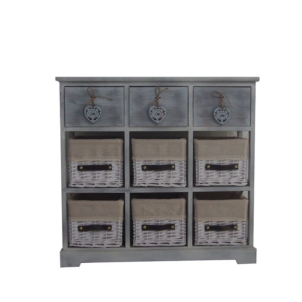 Shop Urban Port Country Style Grey Wood Storage Cabinet