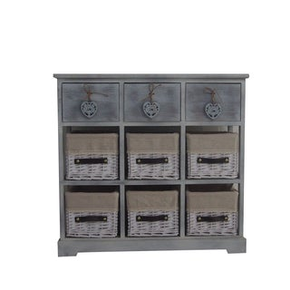 Urban Port Country-style Grey Wood Storage Cabinet