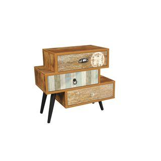 Benzara Urban Port Wood Antiqued 3-drawer Side Table
