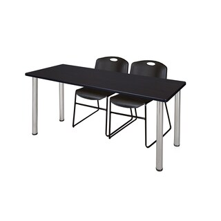 Kee Chrome 66-inch x 24-inch Training Table with 2 Black Zeng Stack Chairs