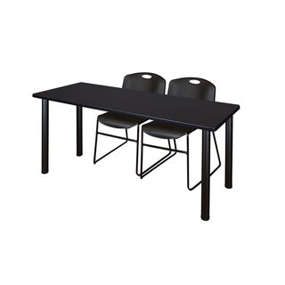 Kee Black 66-inch x 24-inch Training Table with 2 Black Zeng Stack Chairs
