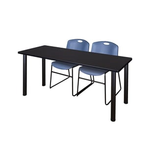 Kee Black 66-inch x 24-inch Training Table with 2 Blue Zeng Stack Chairs