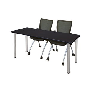Kee Chrome 66-inch x 24-inch Training Table with 2 Black Apprentice Chairs