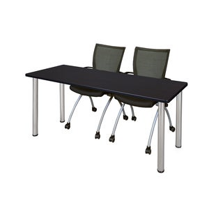 Kee Chrome 66-inch x 24-inch Training Table with 2 Black Apprentice Chairs (More options available)