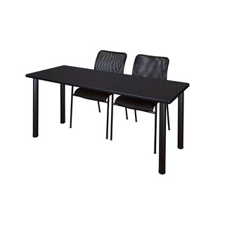 Kee Black 60-inch x 24-inch Training Table with 2 Black Mario Stack Chairs