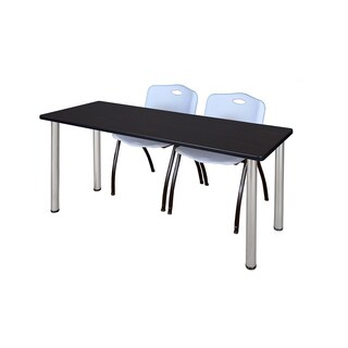 Kee Chrome 60-inch x 24-inch Training Table with 2 Grey 'M' Stack Chairs