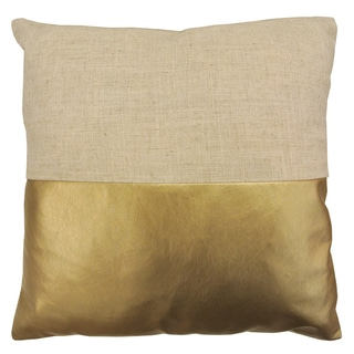 Artistic Linen Gold and Silver Metallic Decorative Throw Pillow