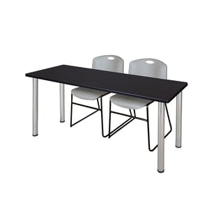Kee Chrome 60-inch x 24-inch Training Table with 2 Grey Zeng Stack Chairs