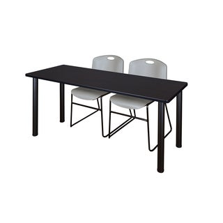 Kee Black 60-inch x 24-inch Training Table with 2 Grey Zeng Stack Chairs