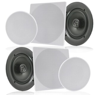 Pyle PDIC1656 White 5.25-inch 150-watt Dual In-wall/In-ceiling 2-way Flush-mount Home Speakers