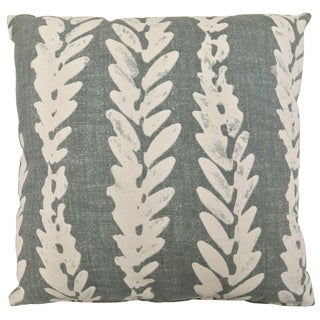 Artistic Linen Feather Leaf Blue/Grey/Brown Feather-filled Decorative Throw Pillow