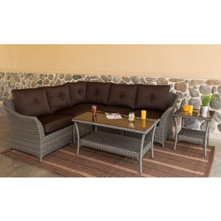Somette Tortuga 5 piece Modular Wicker Sectional