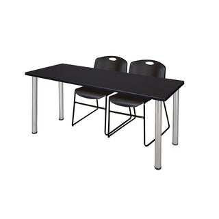 Kee Chrome 60-inch x 24-inch Training Table with 2 Black Zeng Stack Chairs