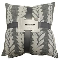 Artistic Linen Feather Leaf Cotton-blend Polyester-filled Printed Decorative Throw Pillows (Pack of 2)