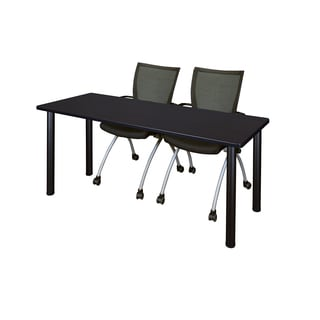 Kee Black 60-inch x 24-inch Training Table with 2 Black Apprentice Chairs
