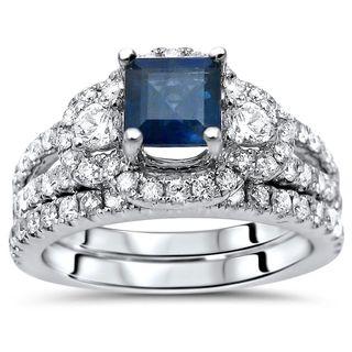 Noori 1 1/2 TGW Princess Cut Blue Sapphire Diamond Engagement Ring Set 14k White Gold