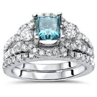 Noori 14K Gold 1 1/2ct Blue Princess Cut Enhanced Diamond Engagement Ring Set - White