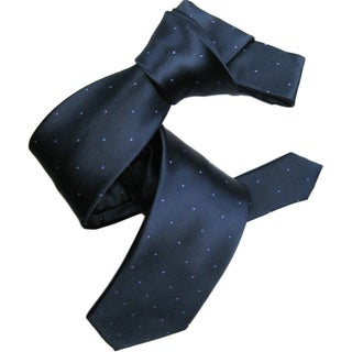 Dmitry Men's Italian Navy with Purple/Blue Polka-dot Silk Tie