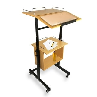 Pyle PLAVCRTLC46 Black and Brown Wood and Metal Portable Wheeled Lectern/Podium/Presentation Cart