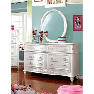 Furniture of America Margie Traditional 2-piece Elegant Fairy Tale Style White Dresser and Mirror Set