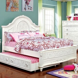 Furniture of America Margie Traditional Elegant Fairy Tale Style Floral White Bed