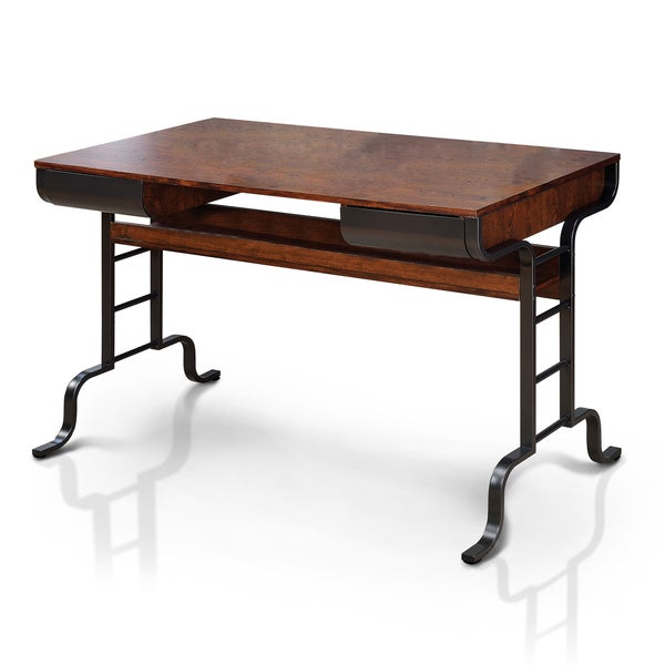 Furniture of America Ilios Transitional Two-Tone Storage Writing Desk