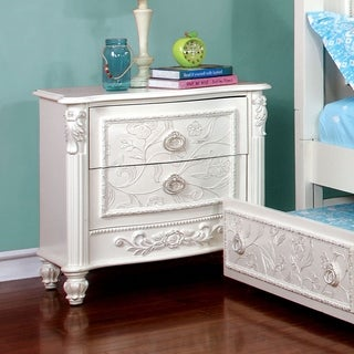 Furniture of America Margie Traditional Elegant Fairy Tale Style 2-drawer White Nightstand