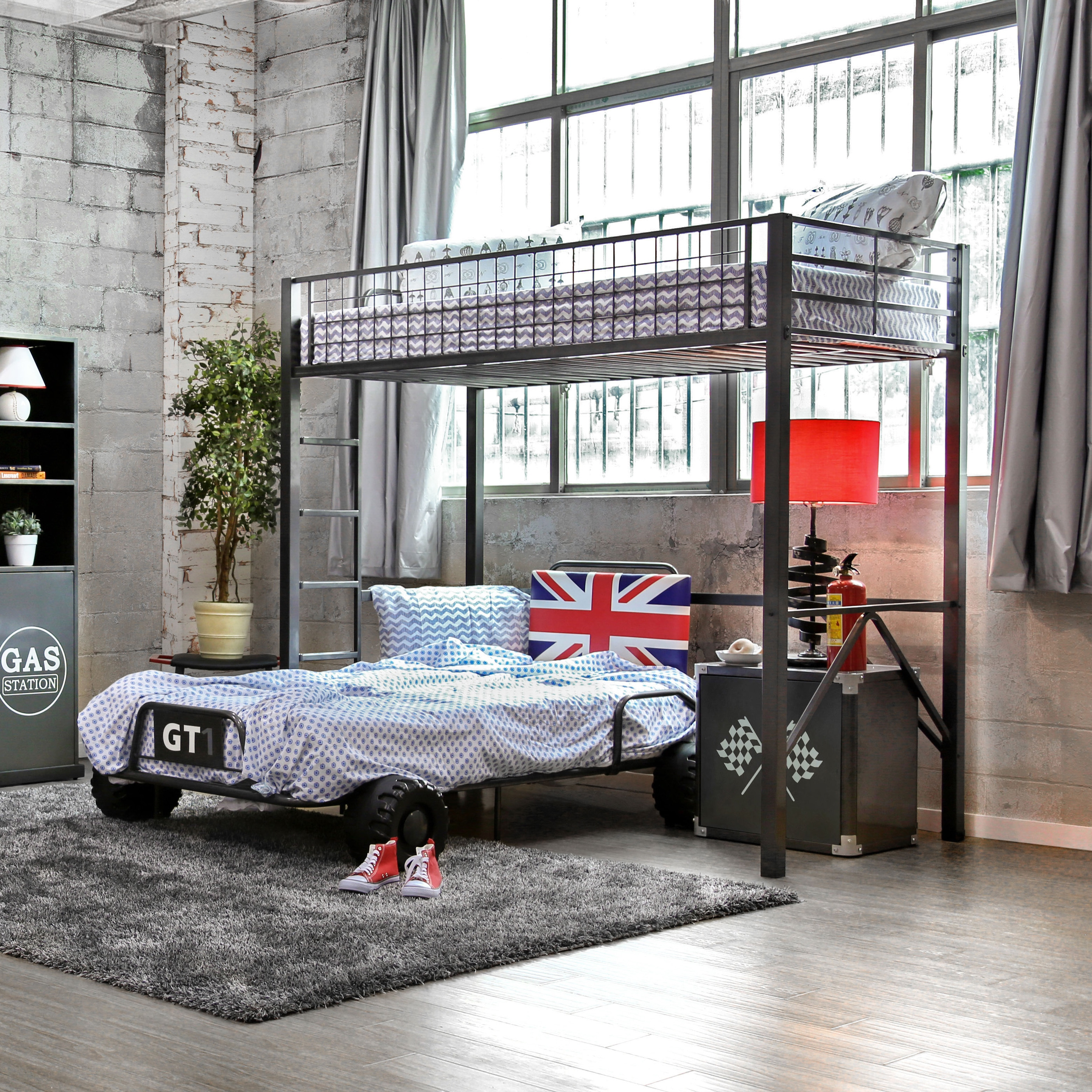 Furniture of america clint twin metal race car bed in red - Furniture Of America Uk Born Racer Metal Youth Bed Full