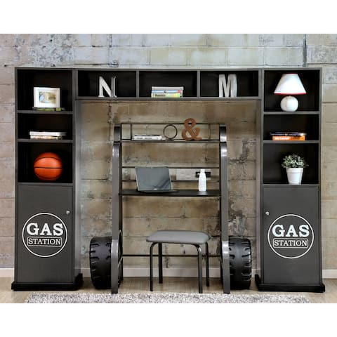 Furniture of America Loot Modern Grey 3-piece Cabinet and Shelf Set
