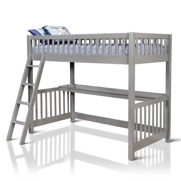 Furniture of america watsor contemporary grey twin loft for Furniture of america loft bed