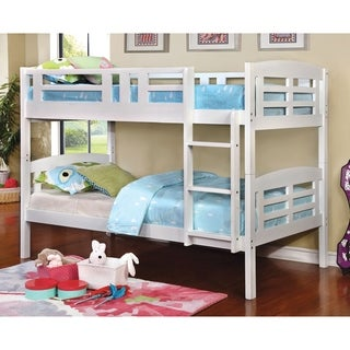Furniture of America Bayson Contemporary White Twin over Twin Bunk Bed