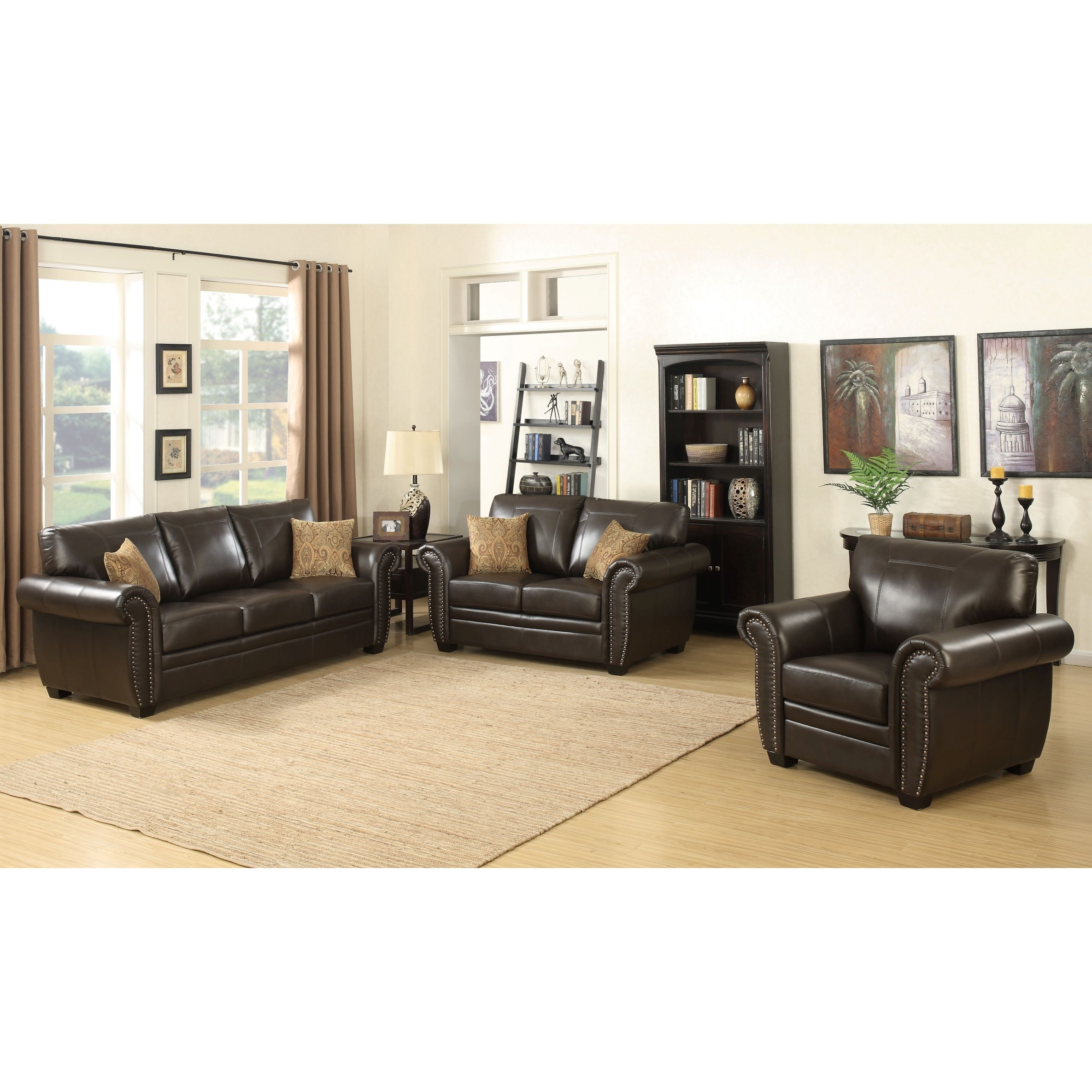 Louis 3 Piece Brown Traditional Stationary Living Room Set