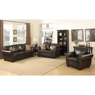 Louis 3-piece Brown Traditional Stationary Living Room Set
