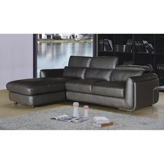 Ron Modern Brown Leather 2-piece Sofa and Chaise Sectional