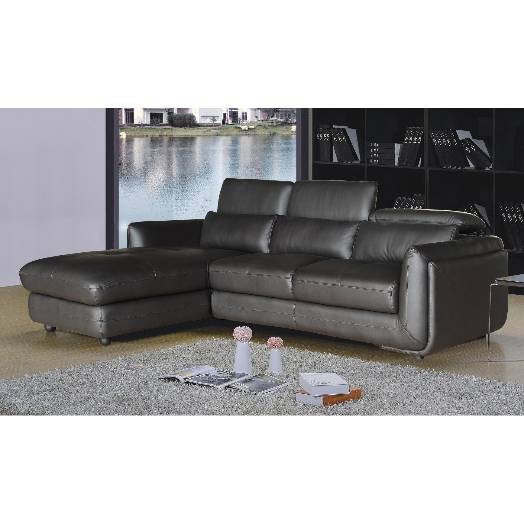Ron Modern Brown Leather 2 Piece Sofa