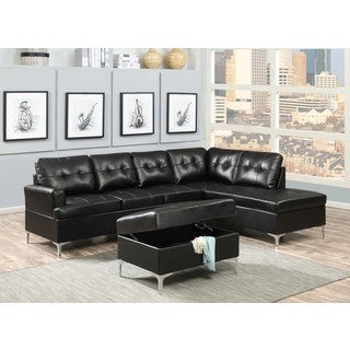 Mila Black Faux Leather 2-Piece Sectional Sofa