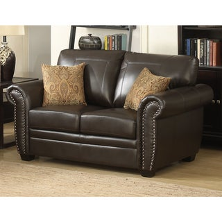 Louis Traditional Brown Stationary Loveseat