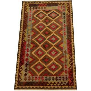 Herat Oriental Afghan Hand-woven Vegetable Dye Wool Kilim (5'1 x 8'5)