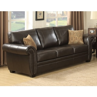 Louis Traditional Brown Stationary Sofa