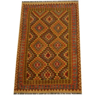 Herat Oriental Afghan Hand-woven Vegetable Dye Wool Kilim (5'2 x 7'1)