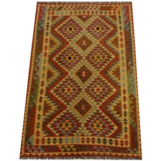 Herat Oriental Afghan Hand-woven Vegetable Dye Wool Kilim (5'6 x 8'2)