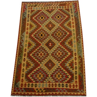Herat Oriental Afghan Hand-woven Vegetable Dye Wool Kilim (4'10 x 8'3)
