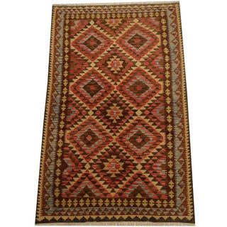 Herat Oriental Afghan Hand-woven Vegetable Dye Wool Kilim (5'4 x 8'6)