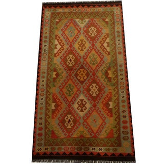 Herat Oriental Afghan Hand-woven Vegetable Dye Wool Kilim (4'10 x 8'10)
