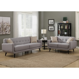 Crystal Grey 2-Piece Sofa and Loveseat Living Room Set