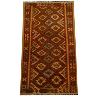 Herat Oriental Afghan Hand-woven Vegetable Dye Wool Kilim (4'6 x 8')