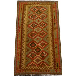 Herat Oriental Afghan Hand-woven Vegetable Dye Wool Kilim (4'9 x 8'2)