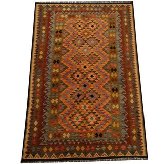 Herat Oriental Afghan Hand-woven Vegetable Dye Wool Kilim (5'7 x 8'4)