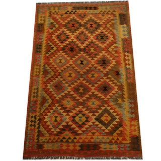 Herat Oriental Afghan Hand-woven Vegetable Dye Wool Kilim (5'4 x 8'3)