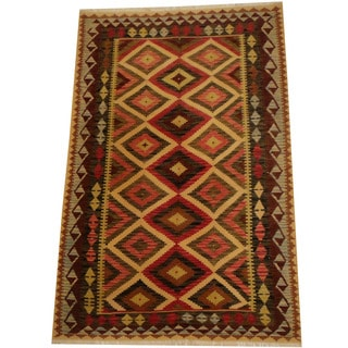 Herat Oriental Afghan Hand-woven Vegetable Dye Wool Kilim (5'4 x 8'2)